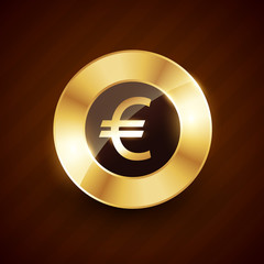euro golden coin design with shiny effects vector