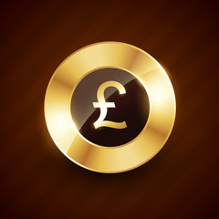 pound golden coin design with shiny effects vector