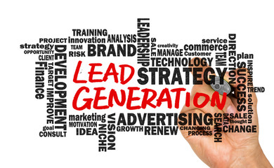 lead generation handwritten on whiteboard with related words clo