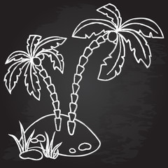 Palm trees on the island. Chalk design.