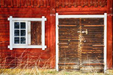 old, antique barn door and windows