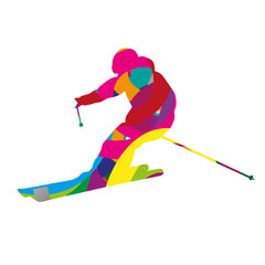 Abstract colorful downhill skier
