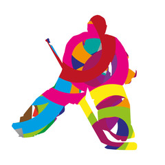 Abstract colorful ice hockey goalie