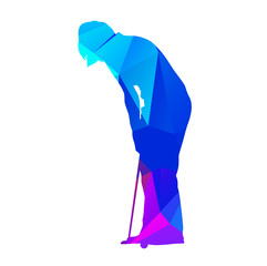 Abstract geometrical putting woman