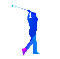 Abstract blue golf player. Vector silhouette