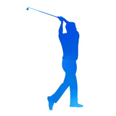 Bright blue vector golfer