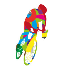 Abstract colorful cyclist
