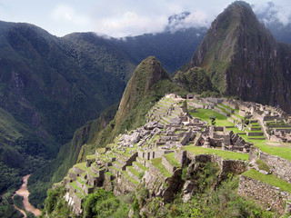 Temple complex Machu Picchu. Stepped terraces mountain. Peru