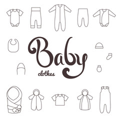 Lettering with icons clothes newborn.