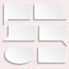 Set of paper speech bubbles. Background with polka dots.