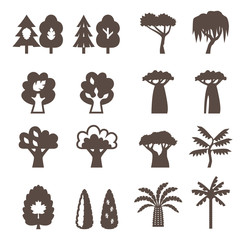 Trees icon set. Silhouette.