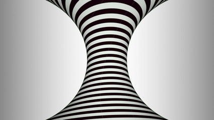 Black and white concave rotating cylinder with hypnotic effects