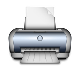 Printer icon with a paper sheets. Vector Illustration