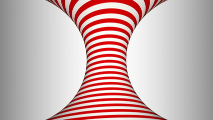 Red and white concave rotating cylinder with hypnotic effects