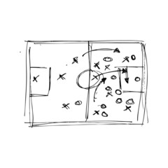 Hand drawn pen and ink style illustration of football tactics
