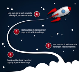Rocket infographics. Creative business start up concept