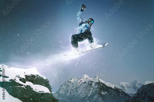 Fotobehang Wintersporten Snowboard Jump