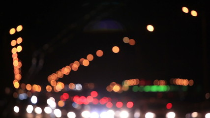 Night  highway in city with fires of cars. Blurred clip