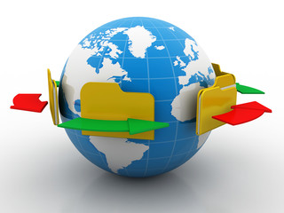 File folders connected to a globe