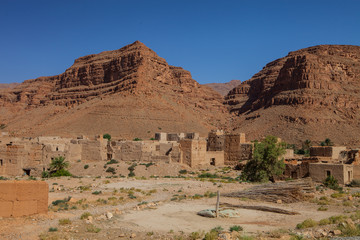kasbah beneath the mountains in central Morocco