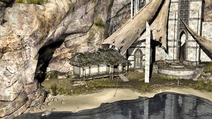 plage et maison