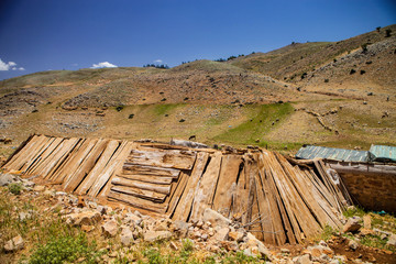 wooden shelters for sheep in the mountains of Morocco