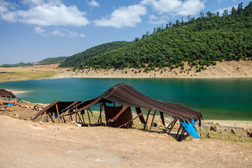 Berber tent by the lake, near Aguelmame, Morocco