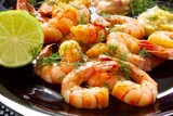 The shrimps on the black plate
