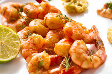 The roasted shrimps