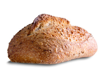 Edge View of Tasty Rye Bread on White Background
