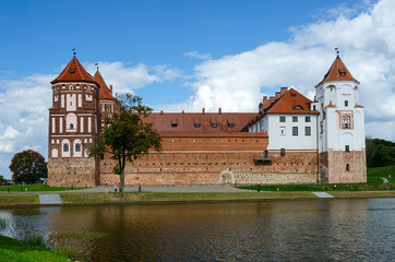 Belarus. Mir Castle, view from the lake
