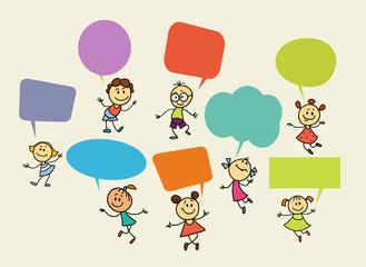 cartoon children with speech bubbles