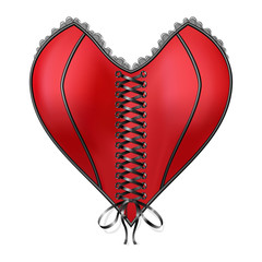 Red Corset Heart with lacing Isolated on white background