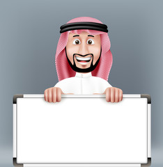 3D Handsome Saudi Arab Man in Traditional Dress Stand