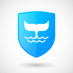 Shield icon with a whale tail