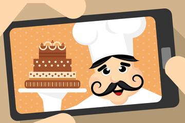 kitchen chef taking selfie photo