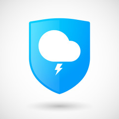 Shield icon with a storm cloud