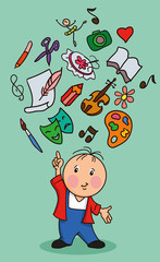 cartoon boy with icons education and the arts