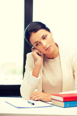 calm woman with book