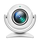 Realistic web camera icon on white background