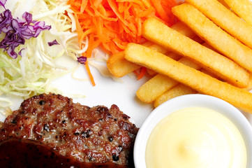 Steak pork black pepper and sausage