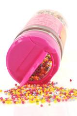 Pot de vermicelles colorés en sucre