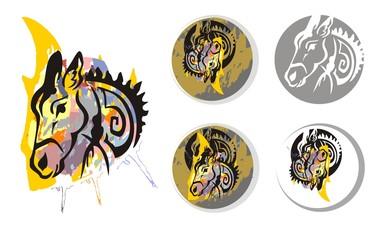 Donkey psychedelic splashes symbols