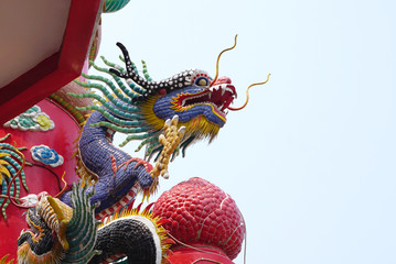 Colorful Chinese dragon sculpture