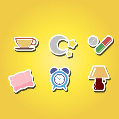colorful  set with sleeping icons for your design