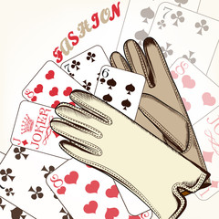 Fashion background with gloves and playing cards