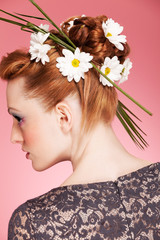 Four seasons summer makeup and hairstyle over pink background