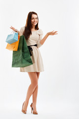 Shopping Woman Pointing at blank Space. Shopping bags
