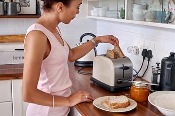 toast woman kitchen