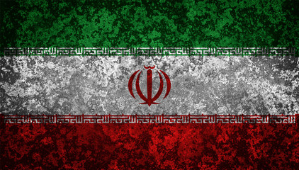 Flag of Iran. Grungy textured Iranian flag.